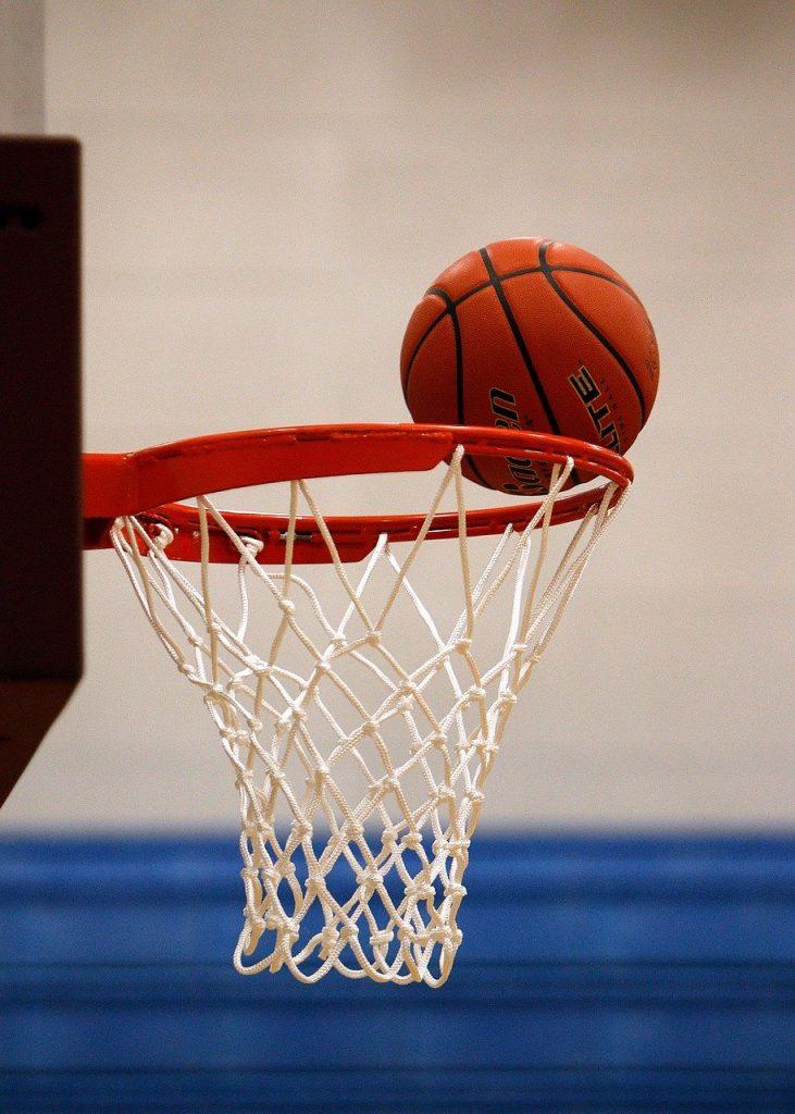Basketball hitting rim